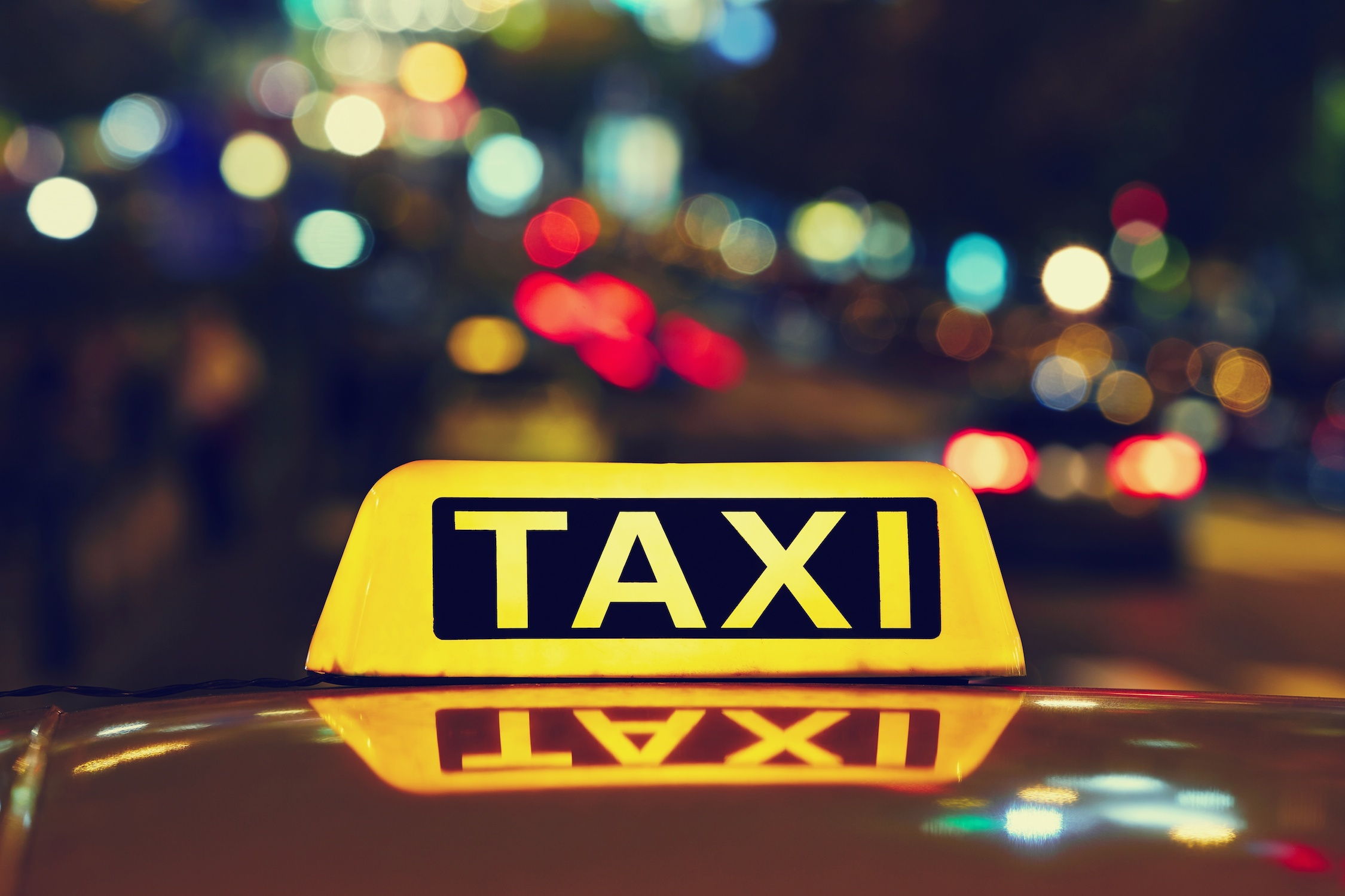Chicago airport taxis in city lights