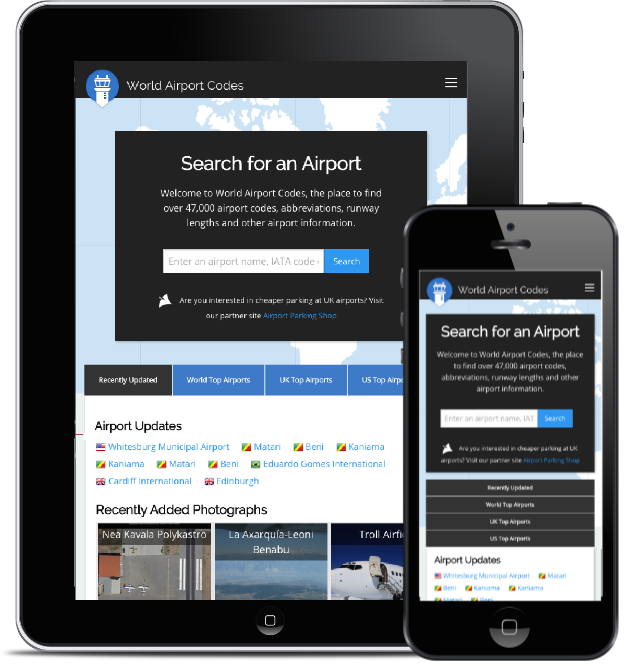 World Airport Codes responsive website for finding airport codes worldwide