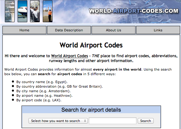 The first version of World Airport Codes from 2003