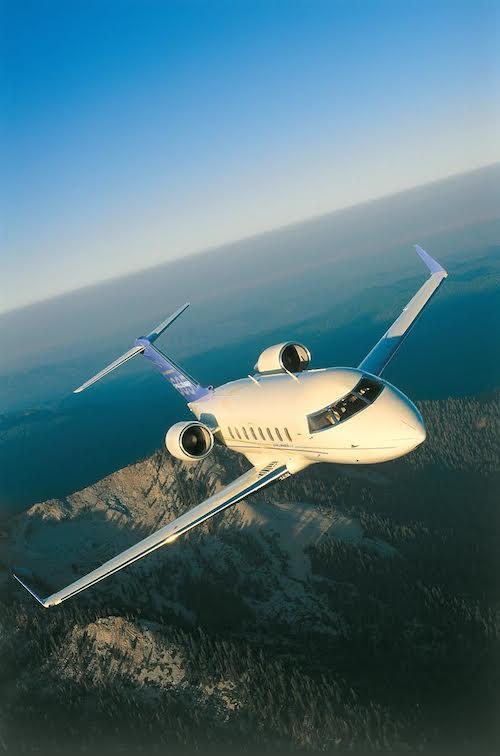 Private Jet mid-flight